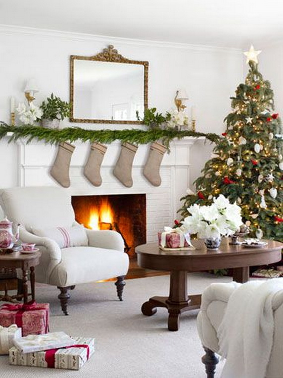 Decorations White Themed Living Room Christmas Decoration Featuring Green Tree With Ornament And Burlap Wreath