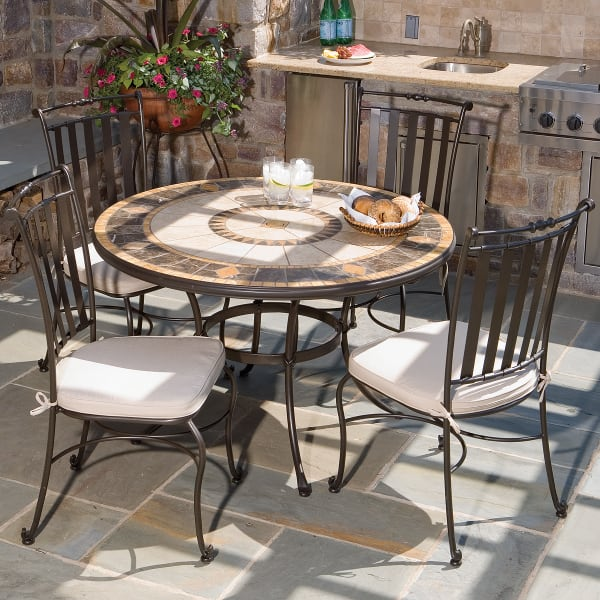 5 Piece Compass Mosaic Outdoor Dining Set From Alfresco Home