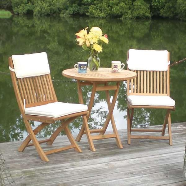 teak wood patio furniture set Sailor Teak Bistro Set