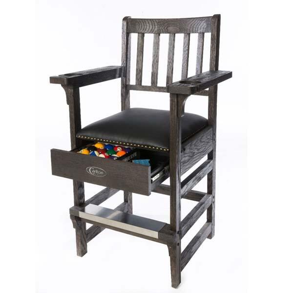 Solid Oak Billiard Spectator Chair w Drawer by Carlton