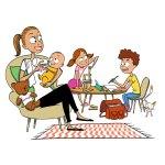 Illustration d'une nounou Family+ avec des enfants