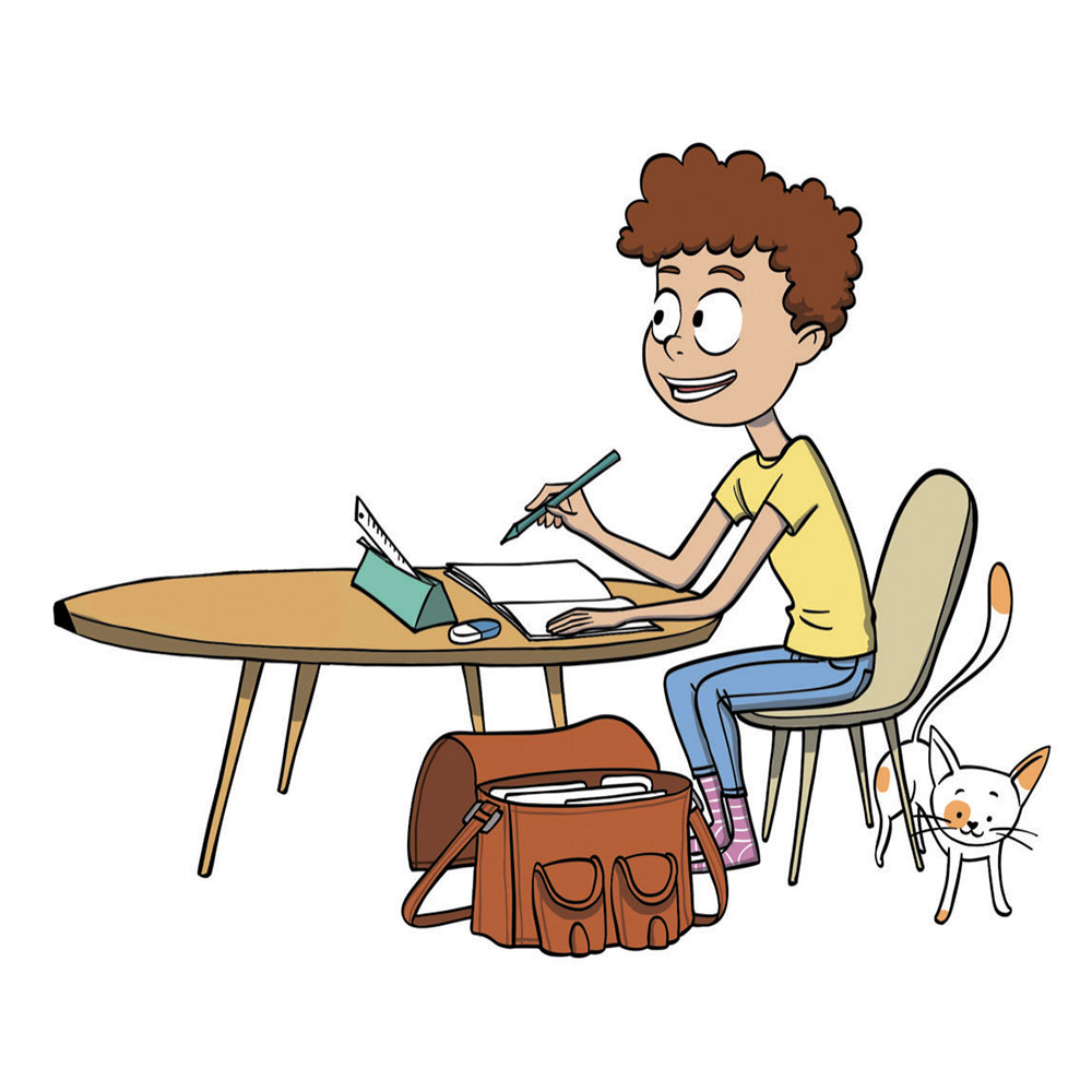 Illustration d'un enfants en train de faire ses devoirs