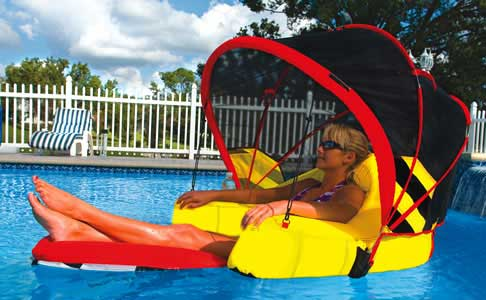 River Rafting Cabriolet Swimming Pool Lounger with Canopy