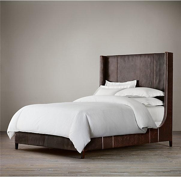 Low  High Back leather headboard king bed  double