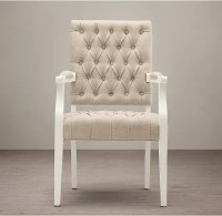 Square Arm tufted fabric dining room chairs , Oak Solid ...