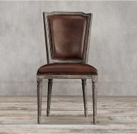 Top Grain Dark Brown Leather Dining Chairs / Leather ...