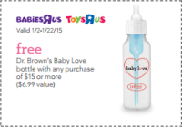 Toys R Us/Babies R Us  Free Dr. Browns Baby Love Bottle ...