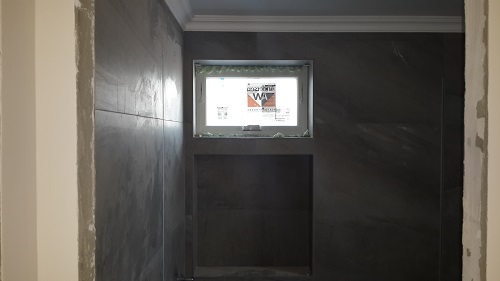 The bathroom after windows were installed