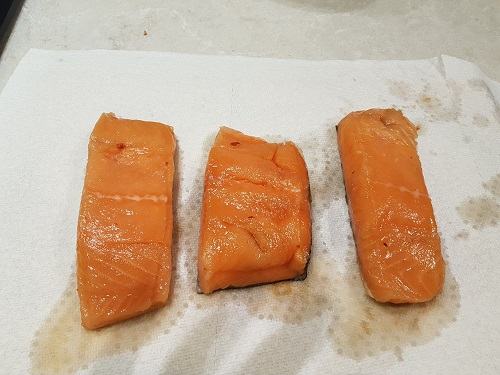 Between curing the salmon - and creating the pellicle - the salmon needs to be dried