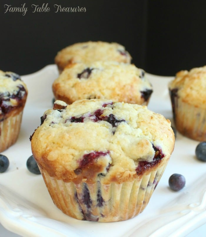 close up of Lemon Blueberry Muffins on serving plate