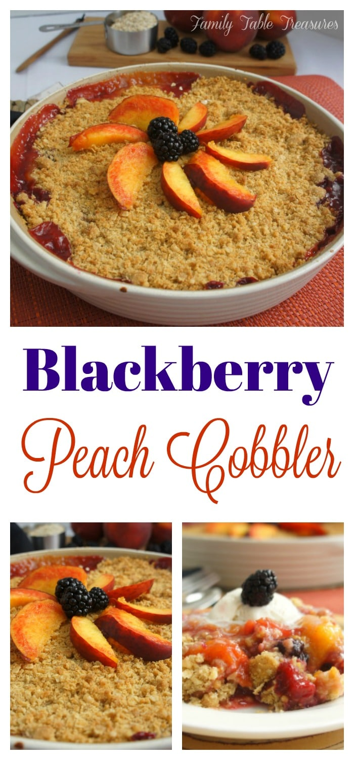 Long Picture of Blackberry Peach Cobbler with graphic text included.