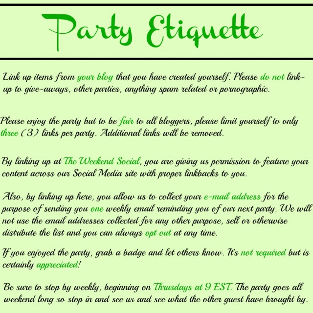 the weekend social party etiquette