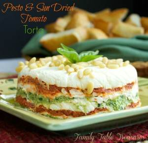 Pesto & Sun Dried Tomato Torta