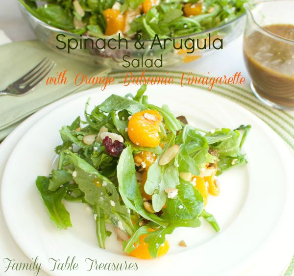 Spinach & Arugula Salad {with Orange Balsamic Vinaigarette}