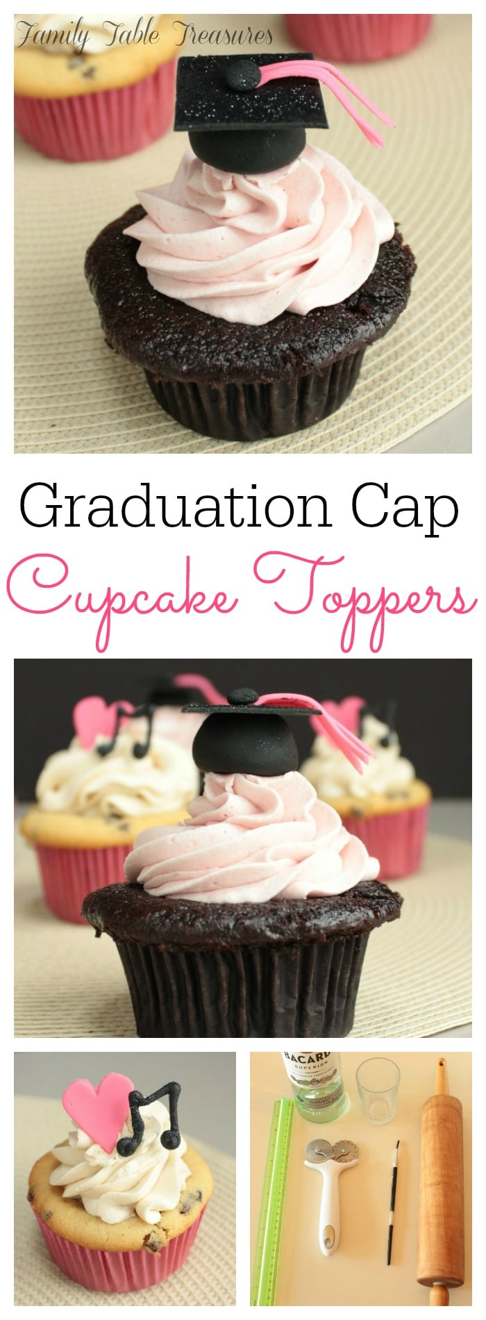 Graduation Cap Cupcake Toppers - Family Table Treasures