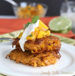 Easy Sweet Potato Fritters with Mango Salsa & Honey Lime Sour Cream