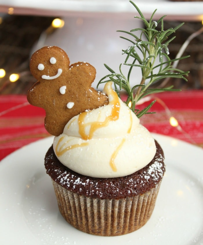 Gingerbread Cupcakes with Caramel Cream Cheese Frosting