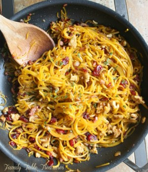 Overhead shot of butternut squash noodles in a skillet