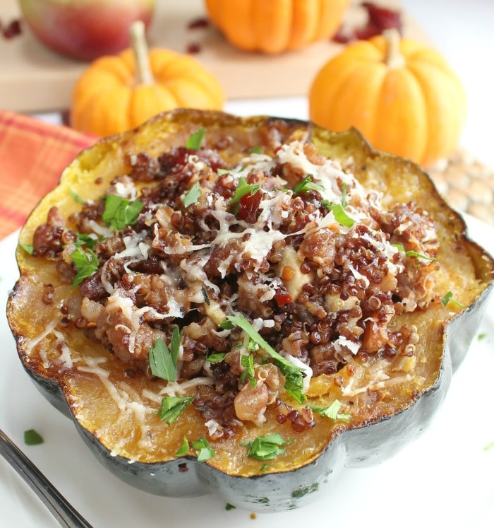 Baked Acorn Squash on a white plate