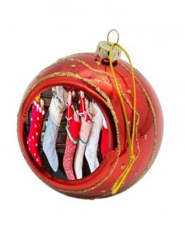 Christmas Bauble Glitter Red Custom Printed