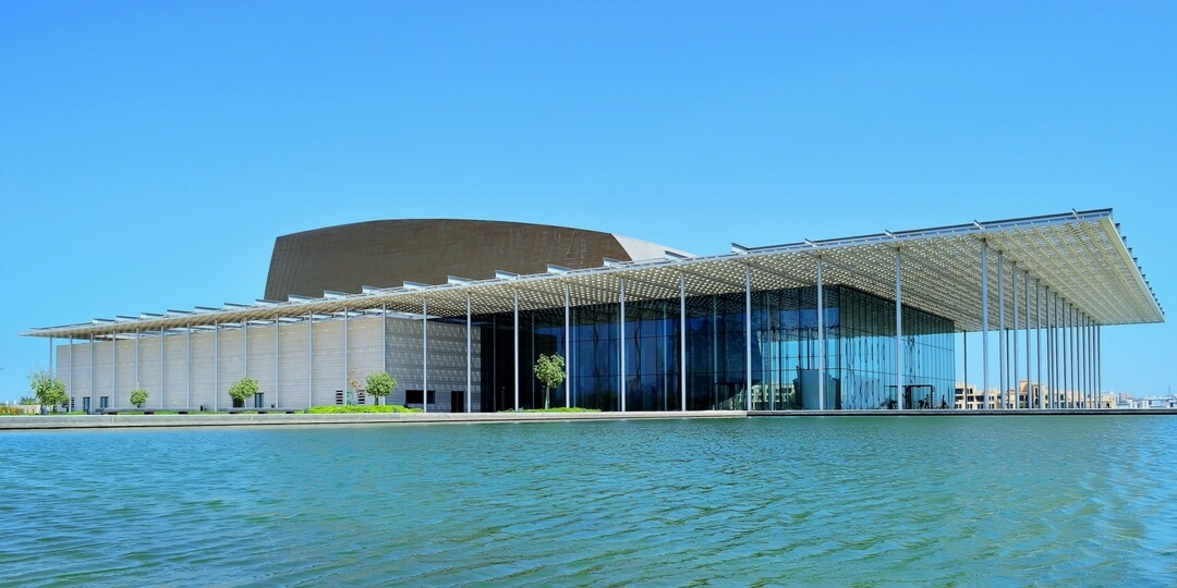 Bahrain National Theatre overlooking water in Bahrain | Middle East Destinations to visit