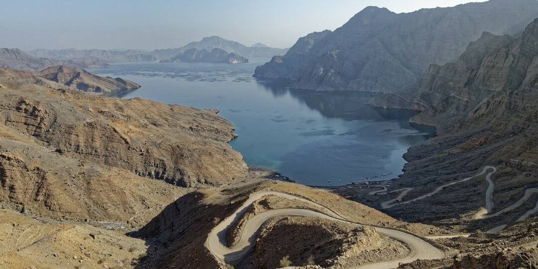 Musnadam Peninsula aerial view of costal drive to Khasab, Oman | Family Travel Destinations in the Middle East