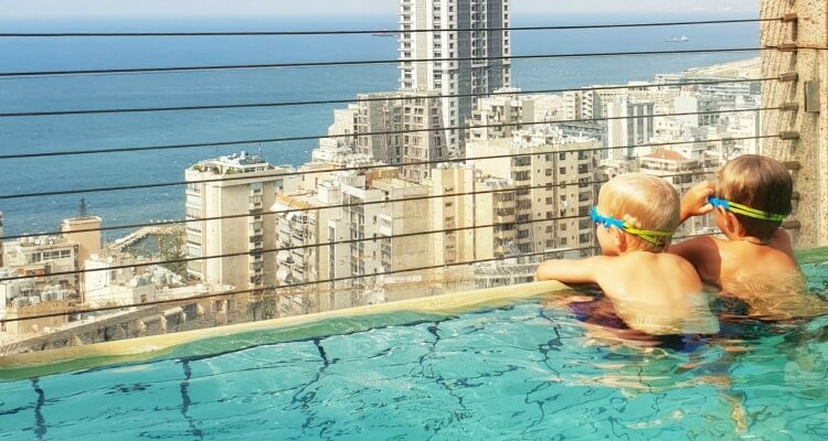 Roof top pool at the Gefinor Rotana | Family Travel in the Middle East