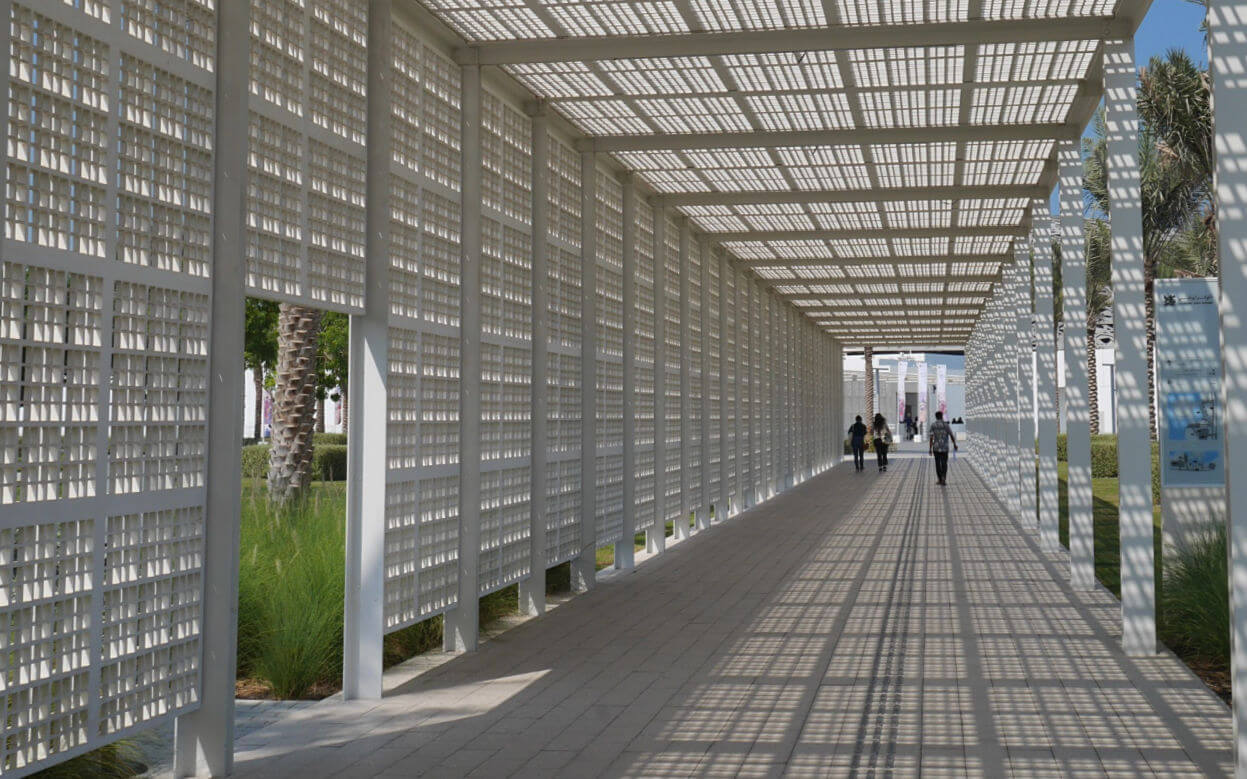 covered walkway at the car park, Louvre Abu Dhabi