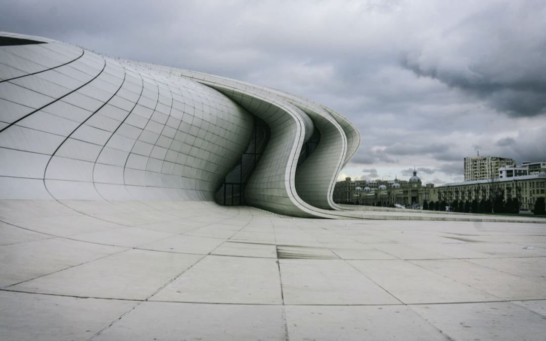 The Heydar Aliyev Centre with a view of the main city beyond