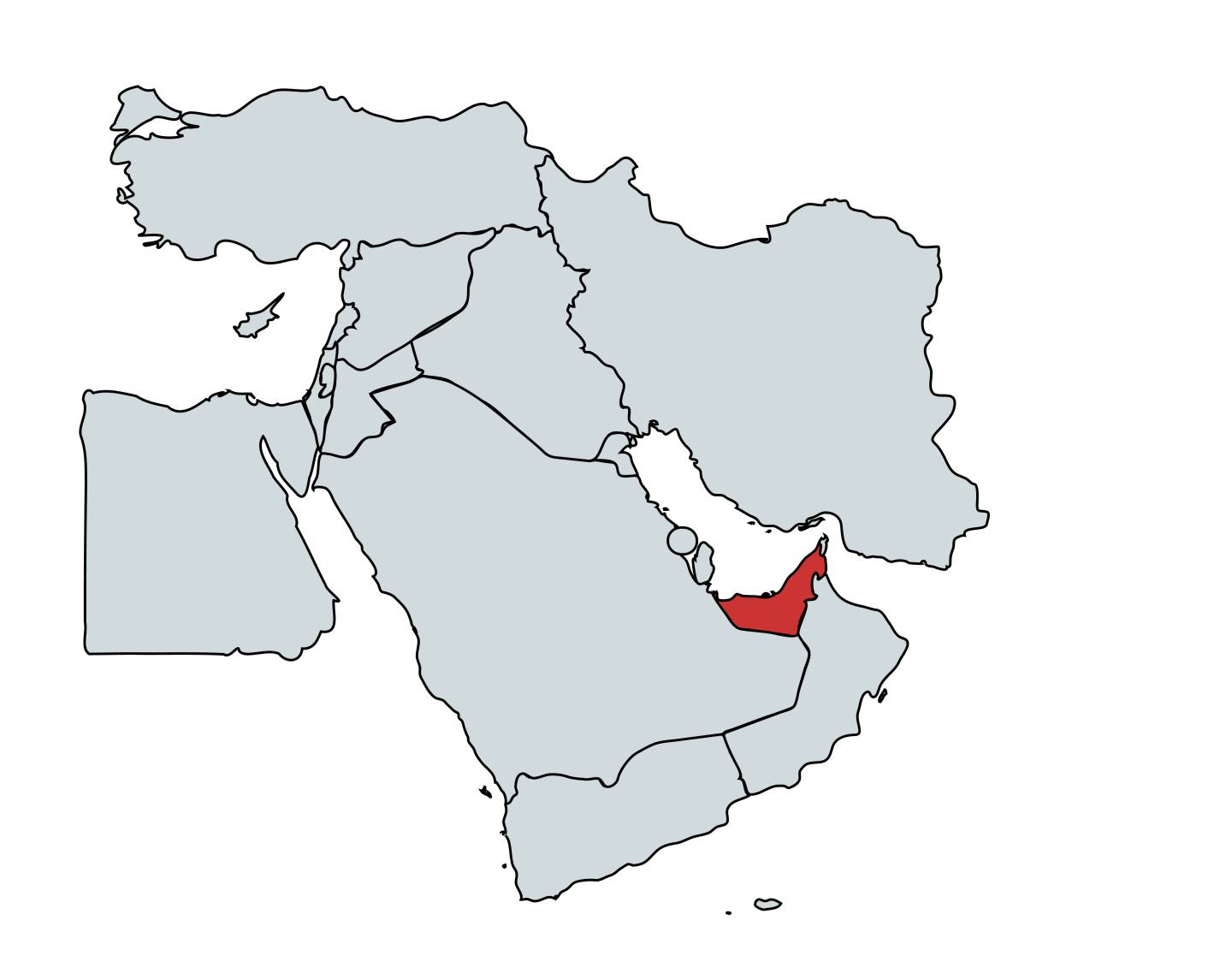 Map of where is Dubai in the Middle East