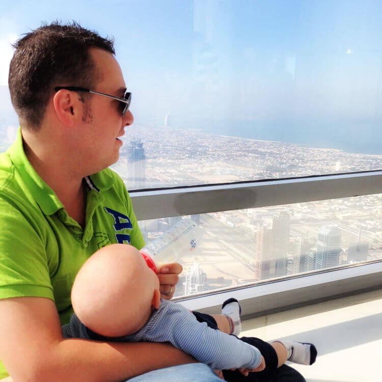Bottle feeding Burj Khalifa