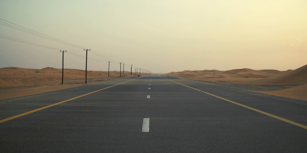 A desert road in Dubai