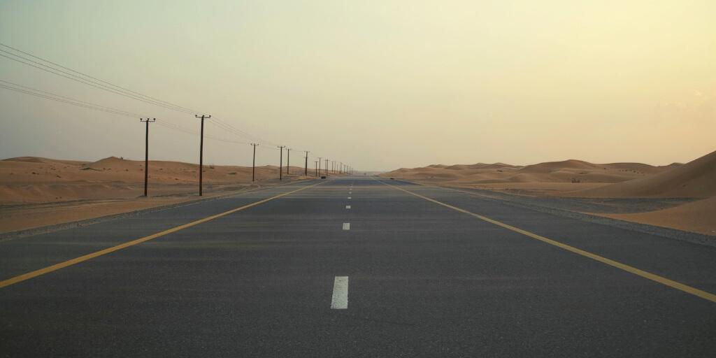 A desert road in Dubai