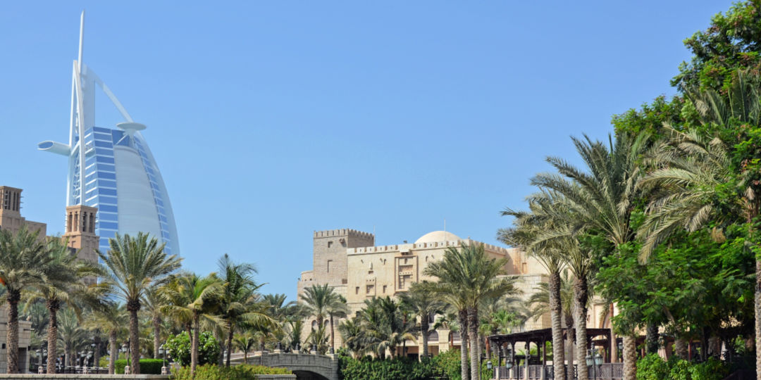 Views from Madinat Jumierah to Burj Al Arab in Dubai