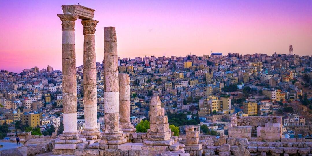 Amman Citadel pink sky