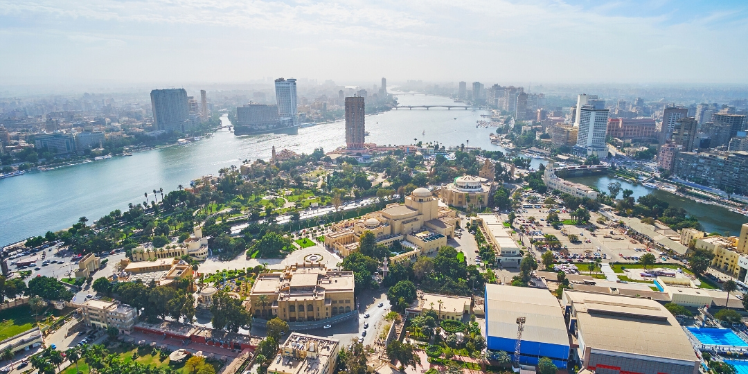 Egypt Cairo aeril city view