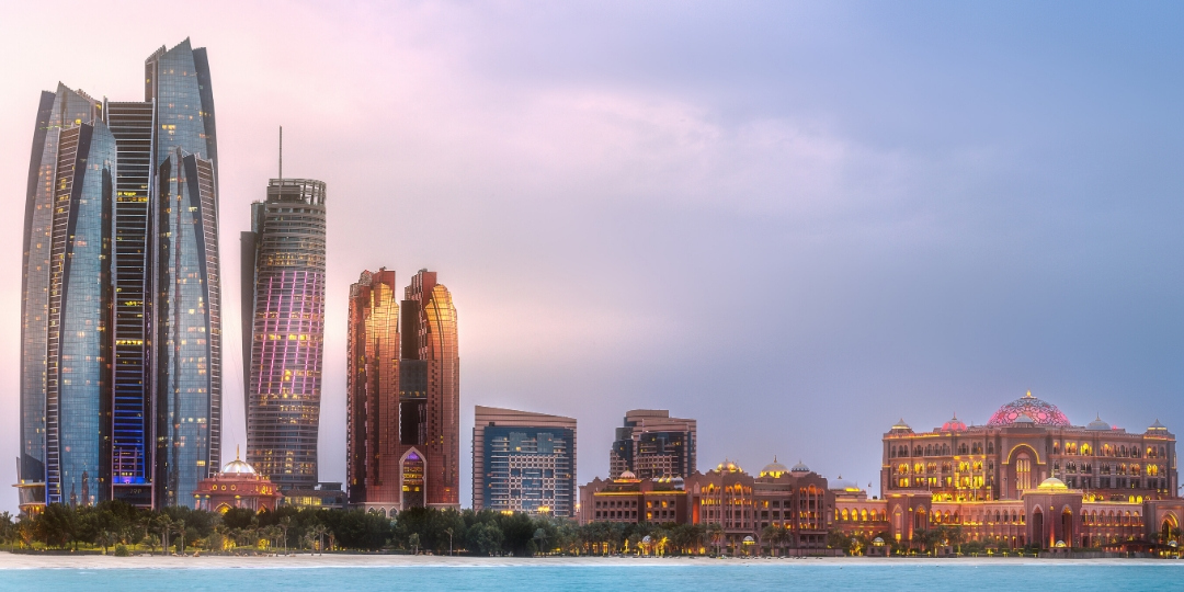 Abu Dhabi city skyline, Etihad Towers an Emirates Palace