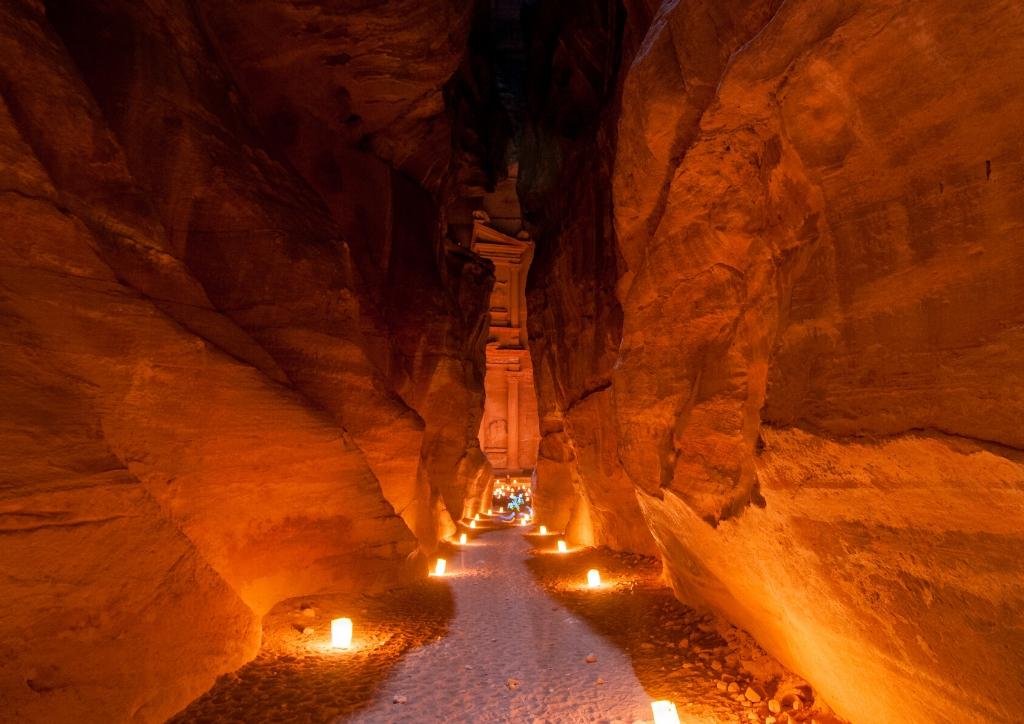 Petra by Night, the Siq leading to the Treasury, Petra, Jordan