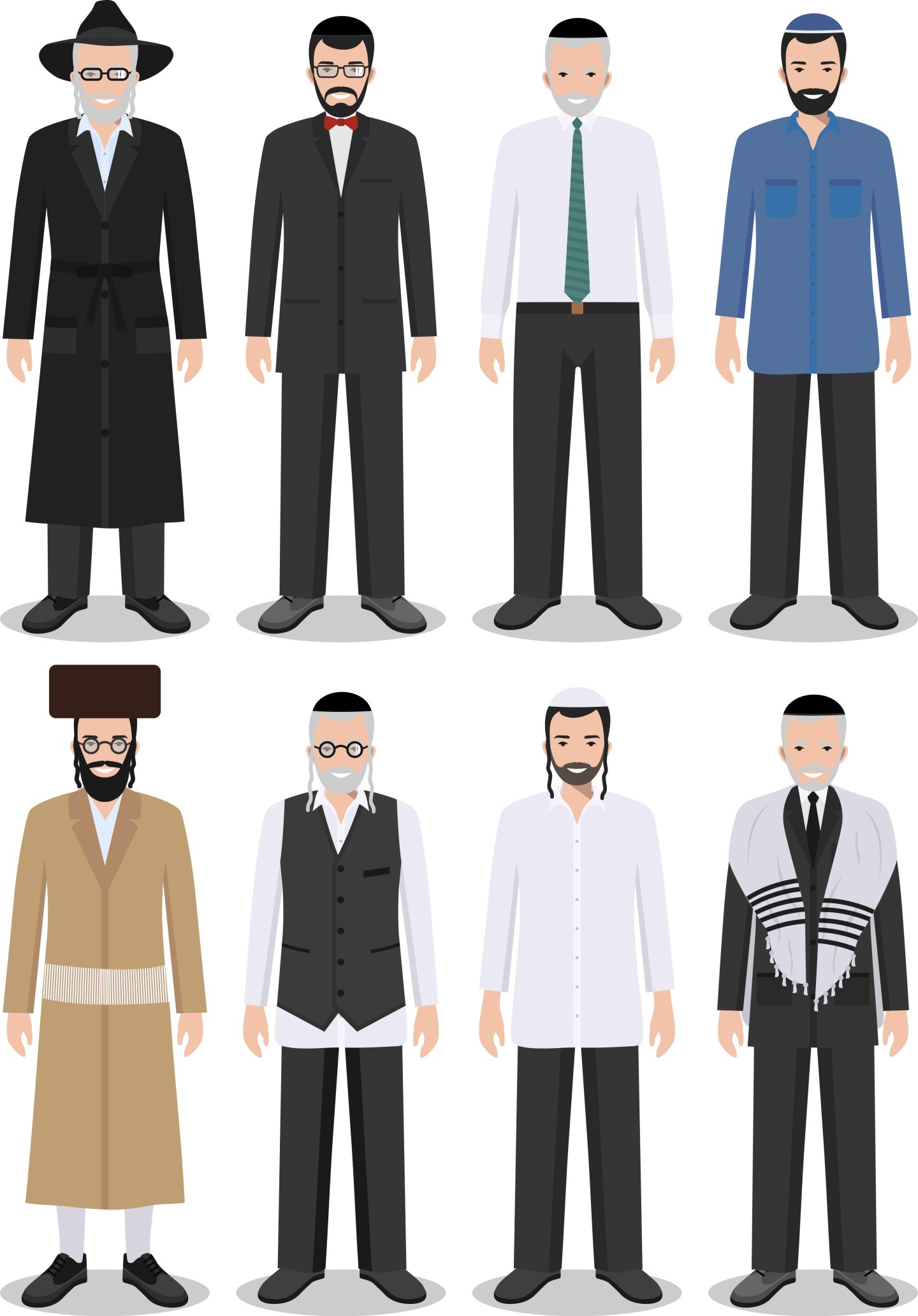 Jewish men different outfits