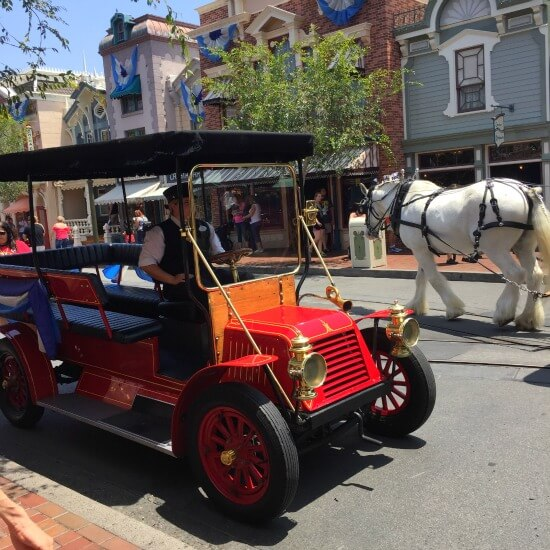 The trolleys and horse-drawn carriages at Disneyland