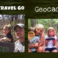 Family holding a geocache on a hiking trail in the woods