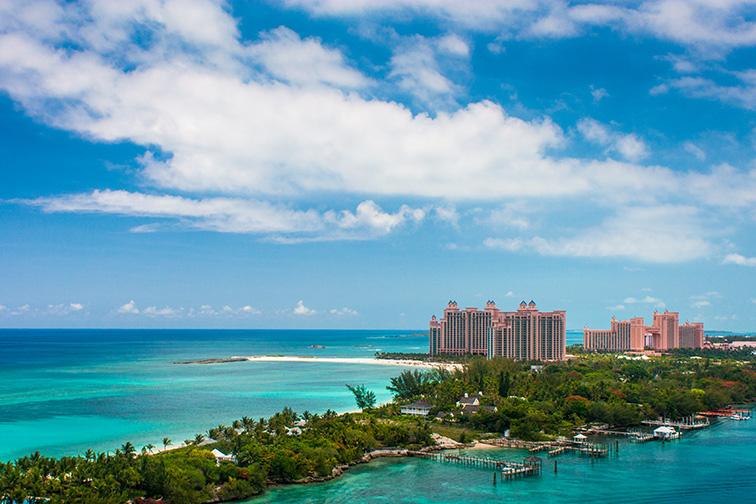 Atlantis and Paradise Island View of Paradise Island and Atlantis, Nassau Bahamas; Courtesy of M Colin/Shutterstock