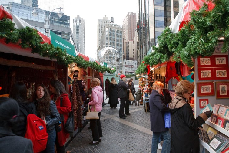 Columbus Circle Christmas Market; Courtesy of William Steacy/NYCGo.com