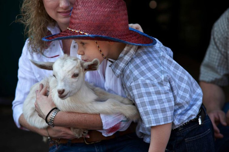 Little Boy With Baby Lamb at Westgate River Ranch Resort & Rodeo in Florida