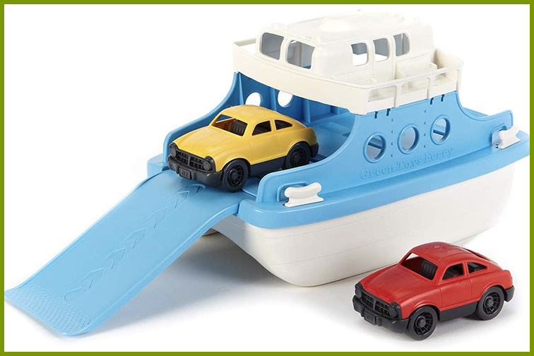 Green Toys Ferry Boat with Mini Cars Bathtub Toy; Courtesy of Amazon