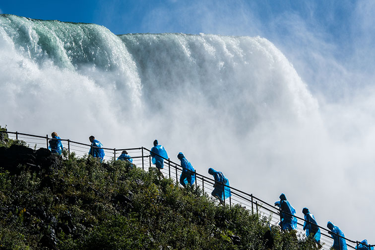 Tourists at Crow's Nest in Niagara Falls, New York
