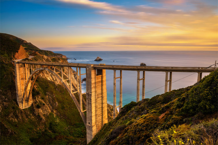 Bixby Bridge on Pacific Coast Highway in California; Courtesy of Nick Fox/Shutterstock.com