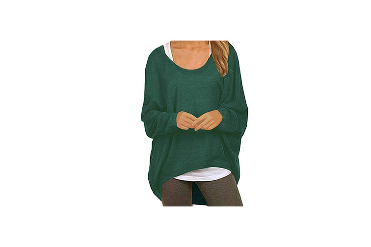 UGET Women's Loose Fitting Batwing Sleeve Pullover Top in Green
