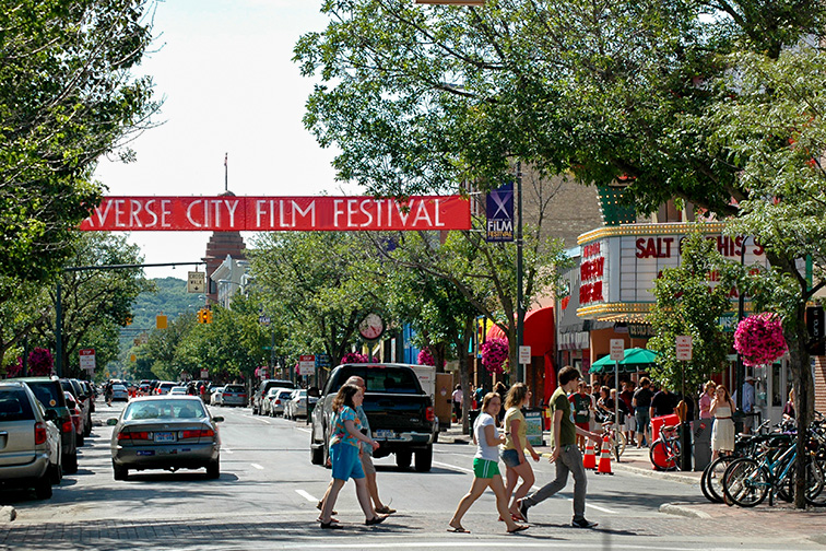 Downtown Traverse City Michigan; Courtesy of Traverse City Tourism
