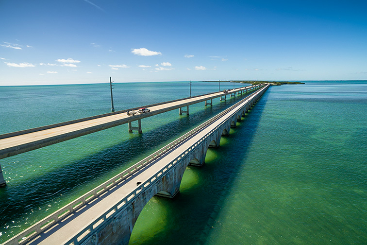 Aerial view along the seven mile bridge of US1 to the florida keys; Courtesy of Zhukova Valentyna/Shutterstock